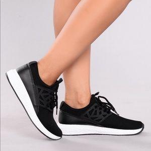 Black running shoes